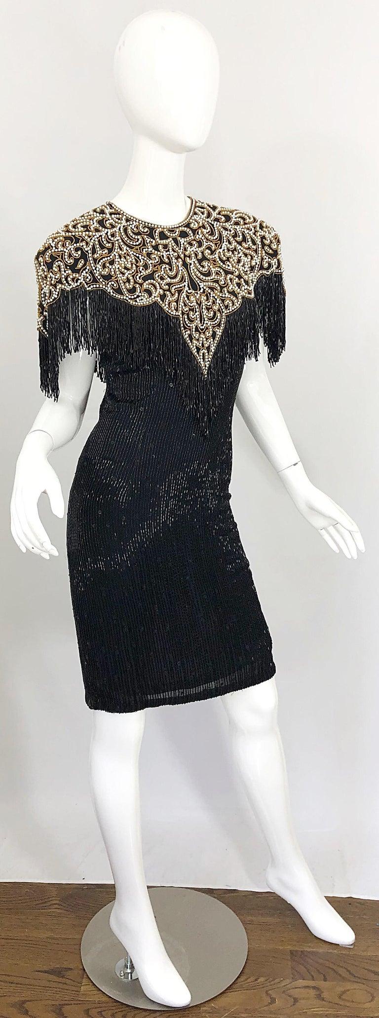 Vintage Naeem Khan Riazee Black Beaded + Pearl Encrusted Fringe Silk Dress For Sale 8
