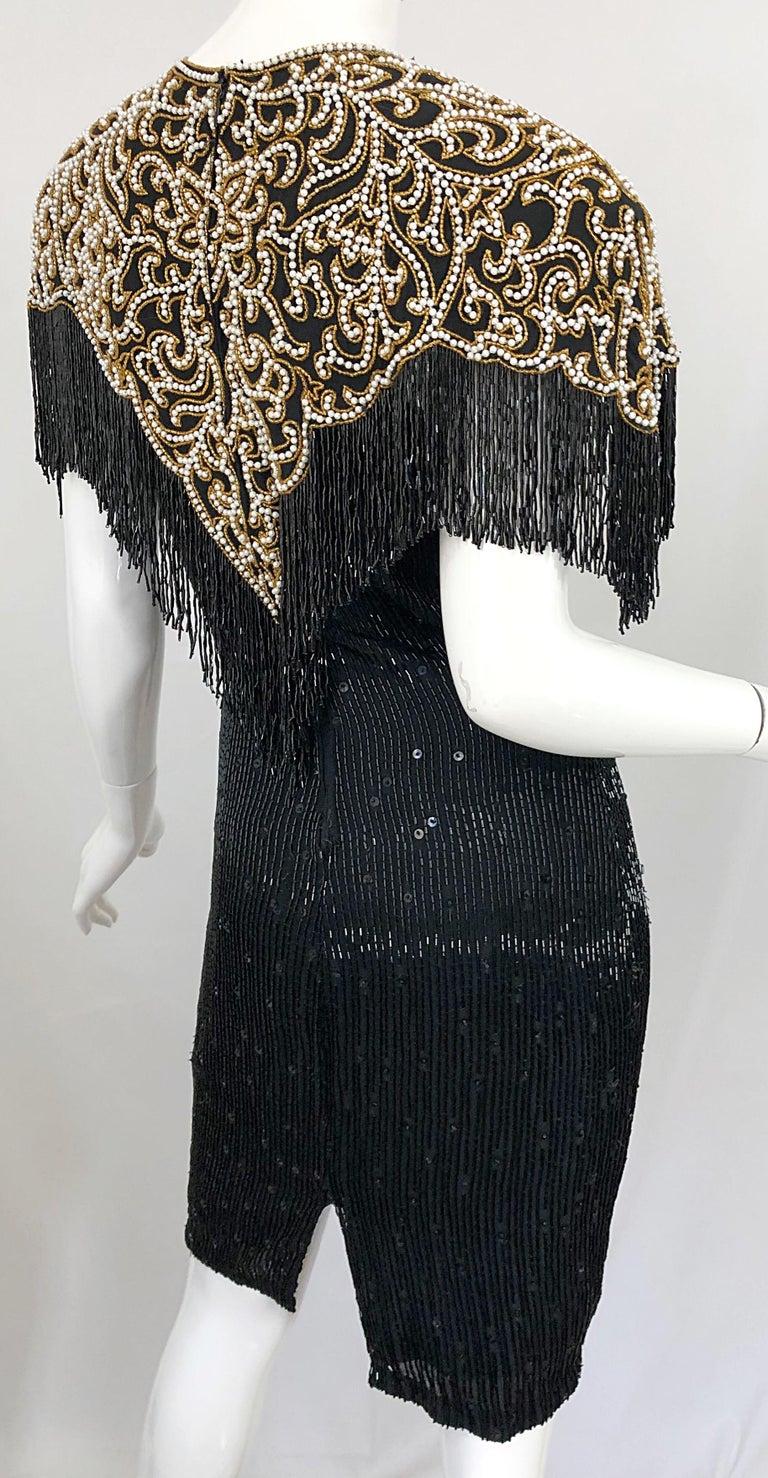 Vintage Naeem Khan Riazee Black Beaded + Pearl Encrusted Fringe Silk Dress For Sale 9