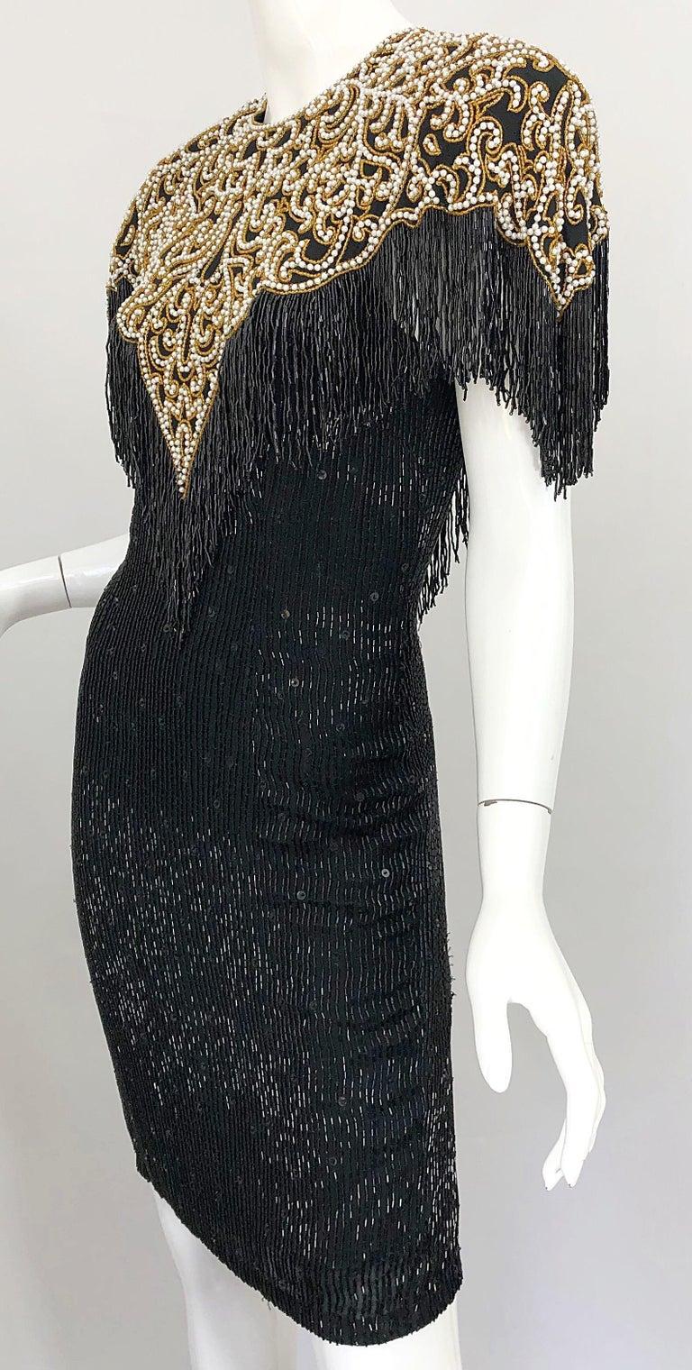Vintage Naeem Khan Riazee Black Beaded + Pearl Encrusted Fringe Silk Dress For Sale 10
