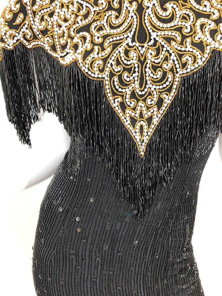 Vintage Naeem Khan Riazee Black Beaded + Pearl Encrusted Fringe Silk Dress For Sale 11