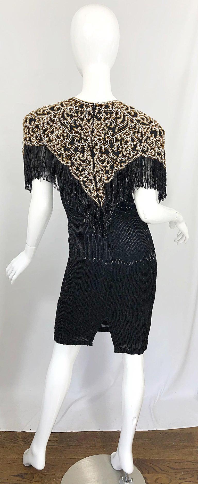 Vintage Naeem Khan Riazee Black Beaded + Pearl Encrusted Fringe Silk Dress For Sale 12