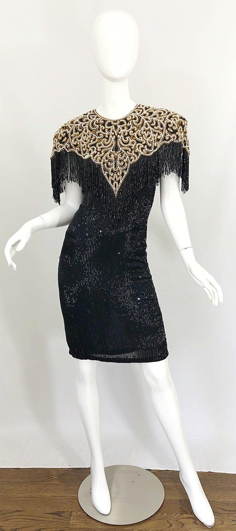 Vintage Naeem Khan Riazee Black Beaded + Pearl Encrusted Fringe Silk Dress For Sale 13