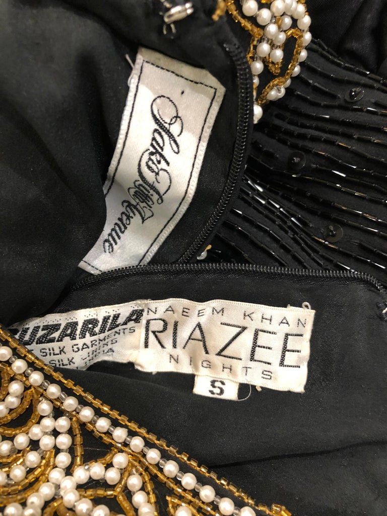 Amazing vintage NAEEM KHAN Riazee for SAKS 5th AVE black beaded and pearl encrusted fringe silk chiffon dress! Features thousands of black seed beads and sequins hand-sewn throughout the entire dress. Pearls and gold beads encrusted on the front and