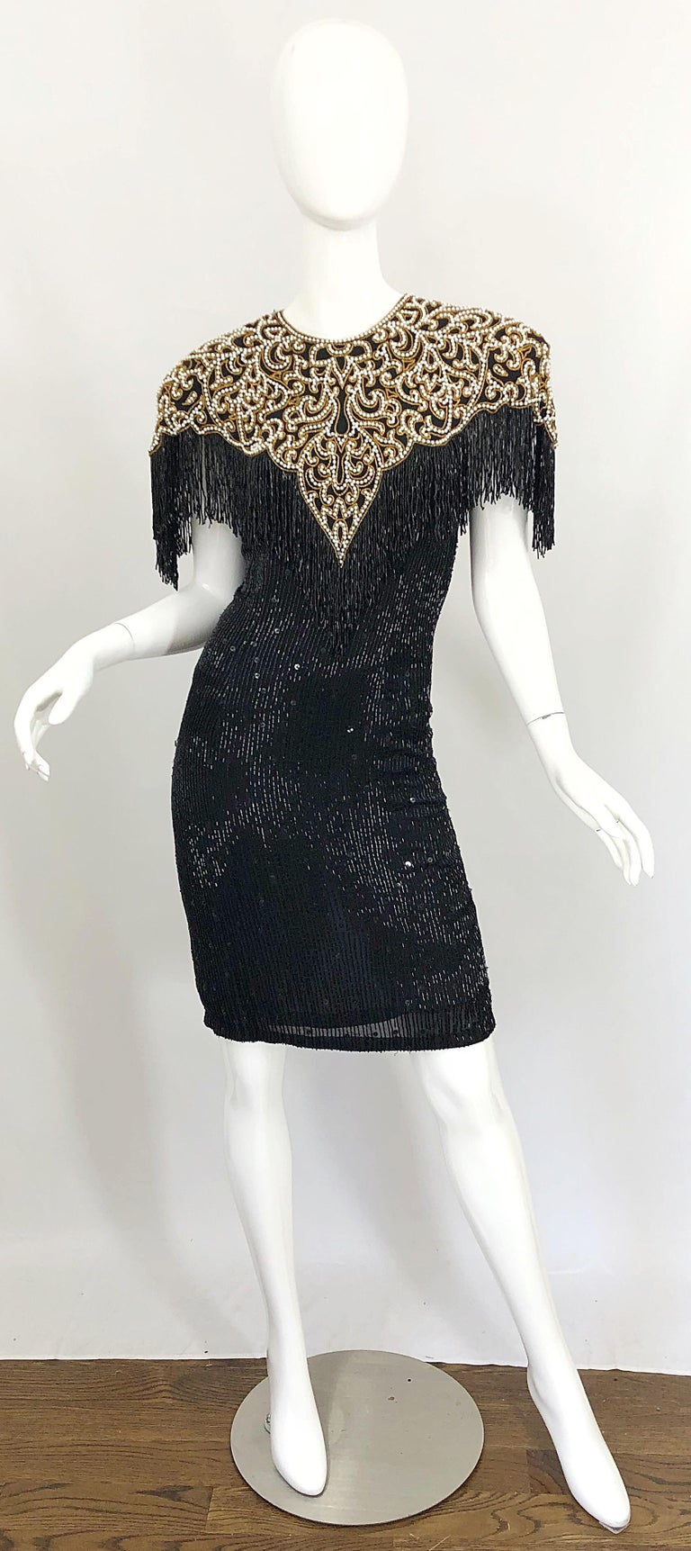 Vintage Naeem Khan Riazee Black Beaded + Pearl Encrusted Fringe Silk Dress In Excellent Condition For Sale In Chicago, IL
