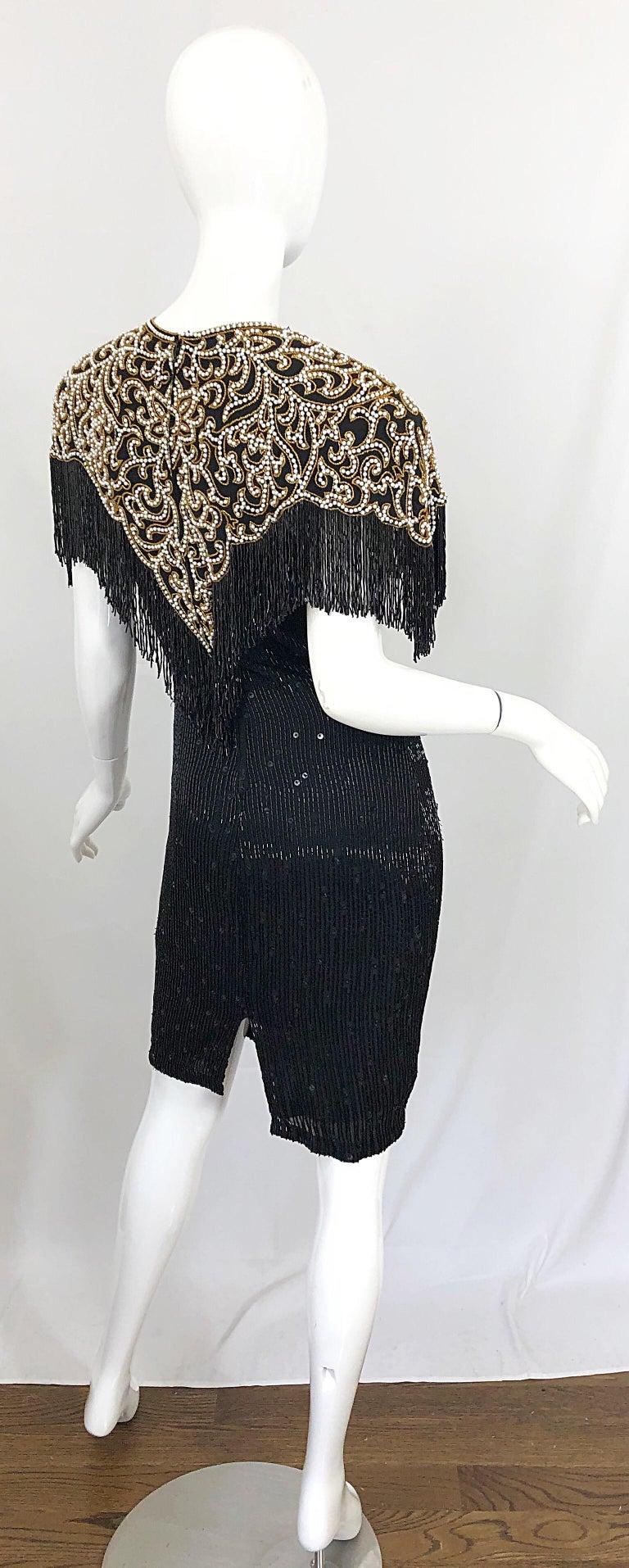 Vintage Naeem Khan Riazee Black Beaded + Pearl Encrusted Fringe Silk Dress For Sale 1