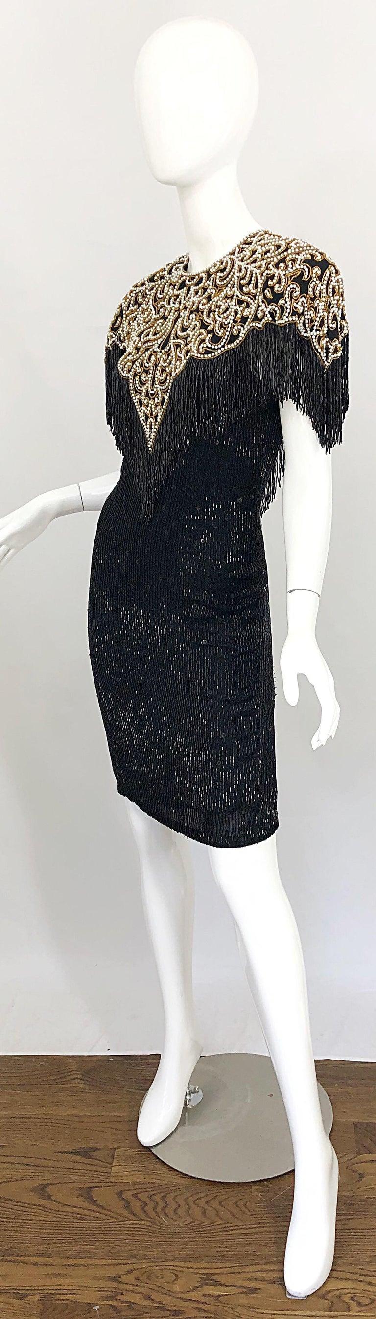 Vintage Naeem Khan Riazee Black Beaded + Pearl Encrusted Fringe Silk Dress For Sale 2