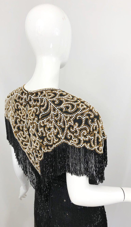 Vintage Naeem Khan Riazee Black Beaded + Pearl Encrusted Fringe Silk Dress For Sale 3