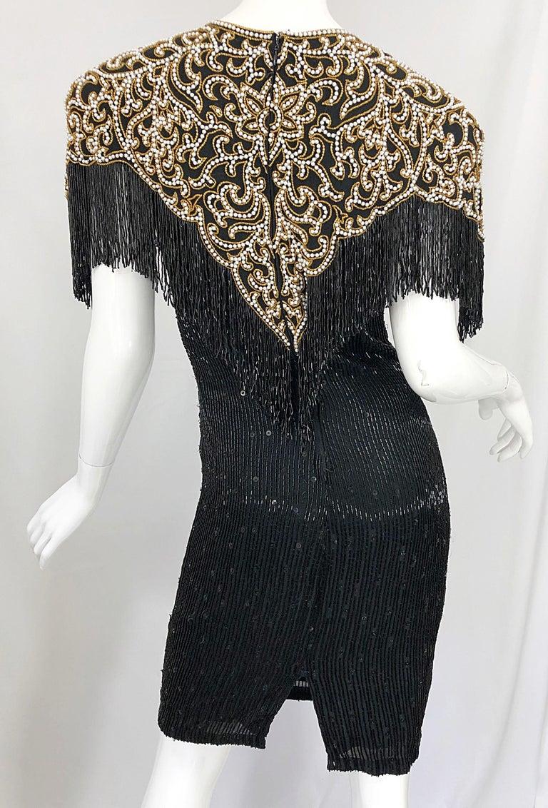 Vintage Naeem Khan Riazee Black Beaded + Pearl Encrusted Fringe Silk Dress For Sale 4