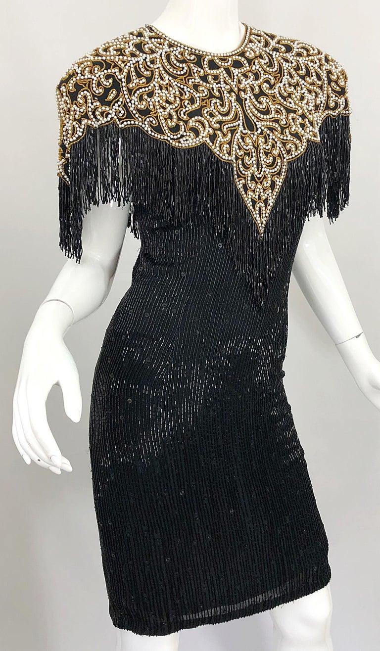 Vintage Naeem Khan Riazee Black Beaded + Pearl Encrusted Fringe Silk Dress For Sale 5