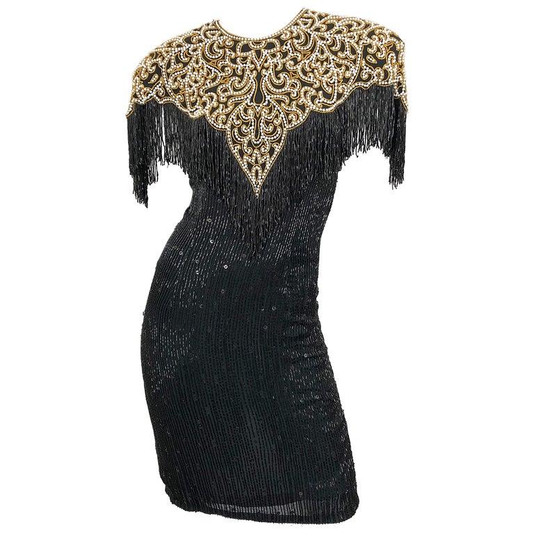 Vintage Naeem Khan Riazee Black Beaded + Pearl Encrusted Fringe Silk Dress For Sale