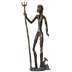 Vintage Naiv Bronze Sculpture of Poseidon, Mythological Sea God