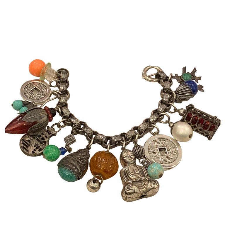 """Vintage Napier """"Charm-Ing"""" Chinoiserie Bracelet For Sale"""