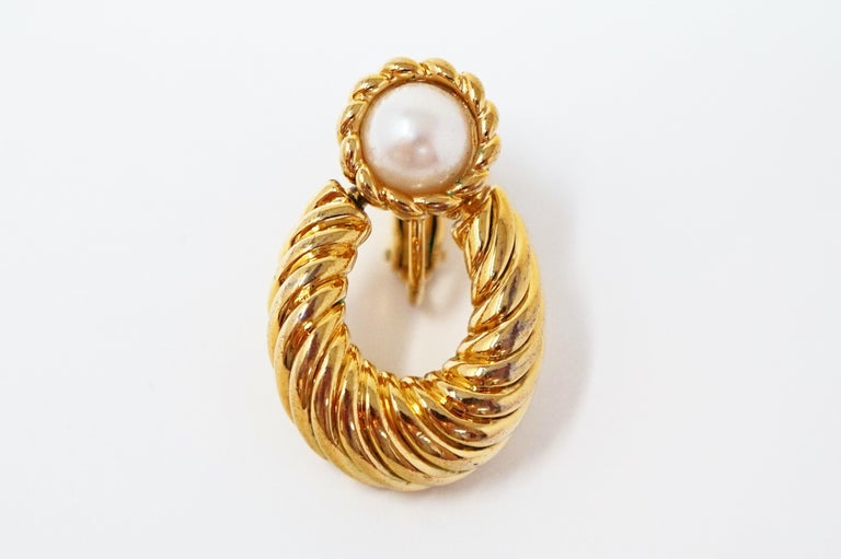 Vintage Napier Gilded Door Knocker Earrings with Pearl, Signed For Sale 5