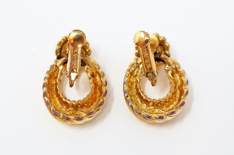 Vintage Napier Gilded Door Knocker Earrings with Pearl, Signed For Sale 6