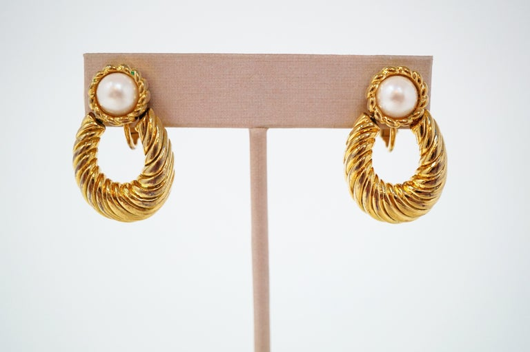 Modern Vintage Napier Gilded Door Knocker Earrings with Pearl, Signed For Sale