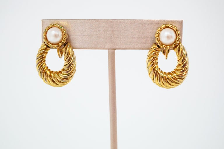 Women's Vintage Napier Gilded Door Knocker Earrings with Pearl, Signed For Sale