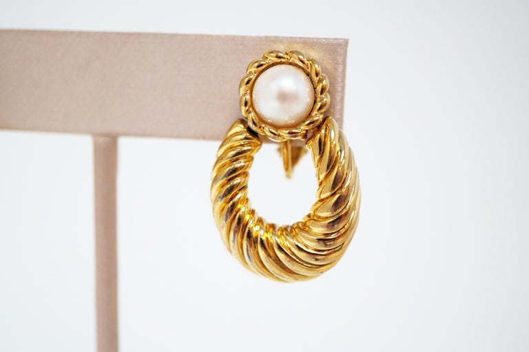 Vintage Napier Gilded Door Knocker Earrings with Pearl, Signed For Sale 1