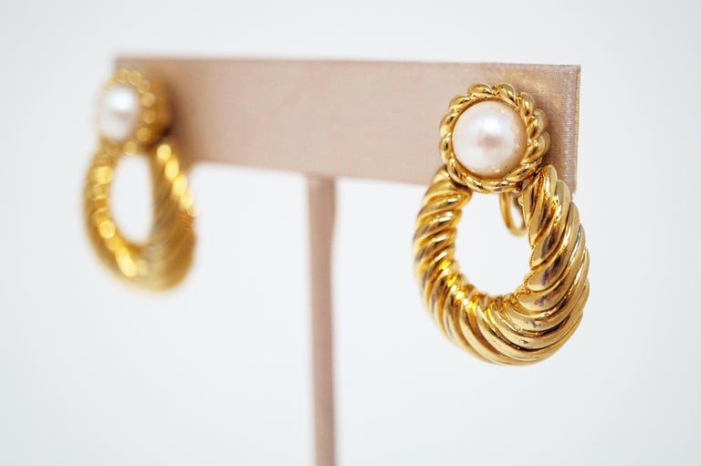 Vintage Napier Gilded Door Knocker Earrings with Pearl, Signed For Sale 2