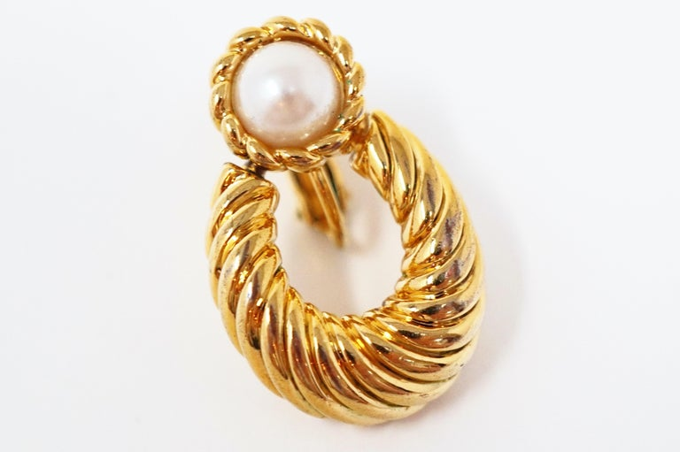 Vintage Napier Gilded Door Knocker Earrings with Pearl, Signed For Sale 4