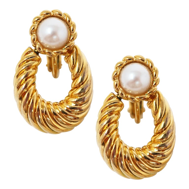 Vintage Napier Gilded Door Knocker Earrings with Pearl, Signed For Sale