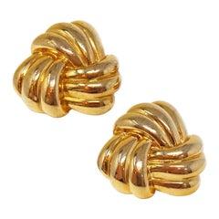 Vintage Napier Gilded Knot Stud Statement Earrings, Signed