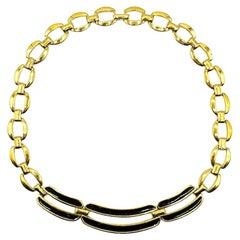 Vintage Napier Gold & Black Enamel Bar Necklace 1980s