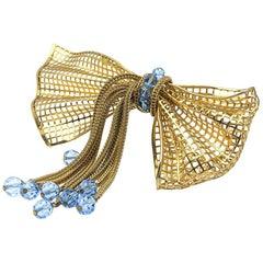 Vintage Napier Gold Filigree and Blue Crystal Oversize Bow Brooch 1940s
