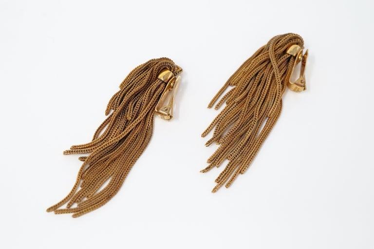 Vintage Napier Gold Fringe Earrings, Signed, circa 1970s For Sale 5