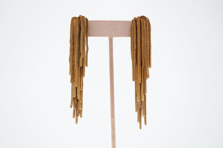 Modern Vintage Napier Gold Fringe Earrings, Signed, circa 1970s For Sale