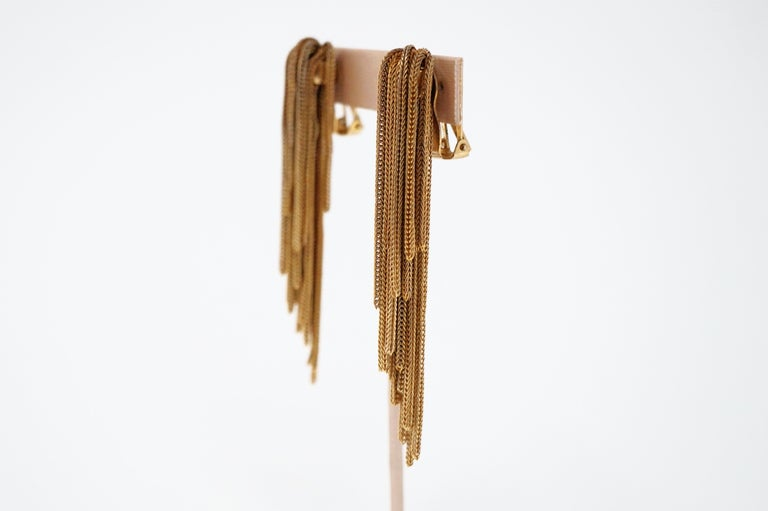 Vintage Napier Gold Fringe Earrings, Signed, circa 1970s In Good Condition For Sale In Los Angeles, CA