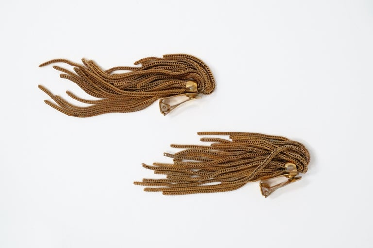 Women's Vintage Napier Gold Fringe Earrings, Signed, circa 1970s For Sale
