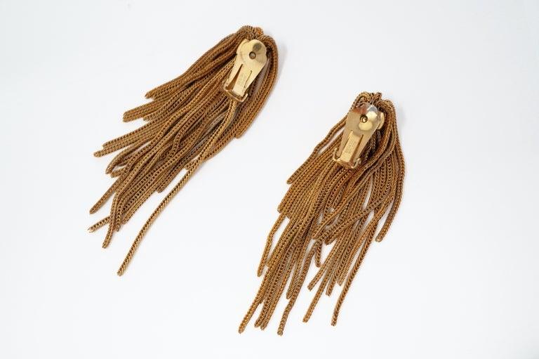Vintage Napier Gold Fringe Earrings, Signed, circa 1970s For Sale 1