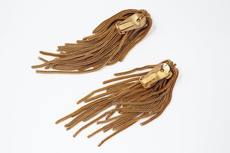 Vintage Napier Gold Fringe Earrings, Signed, circa 1970s For Sale 2
