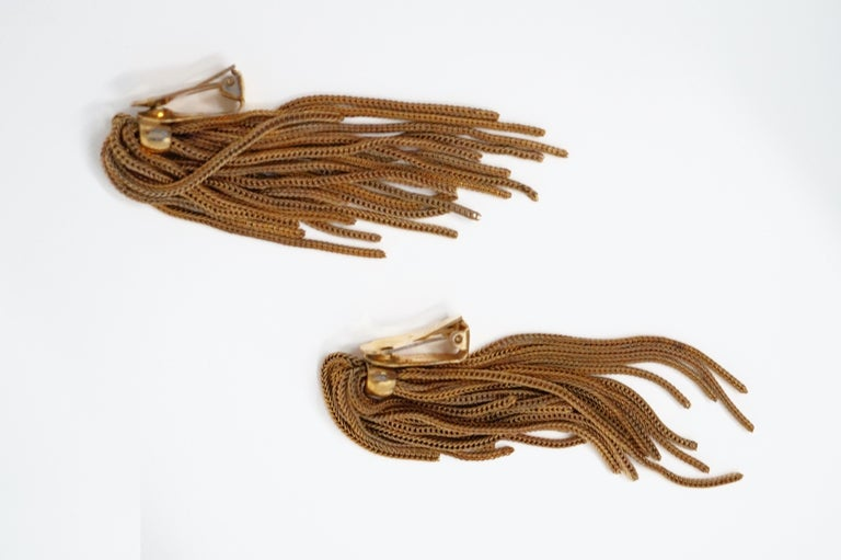 Vintage Napier Gold Fringe Earrings, Signed, circa 1970s For Sale 3