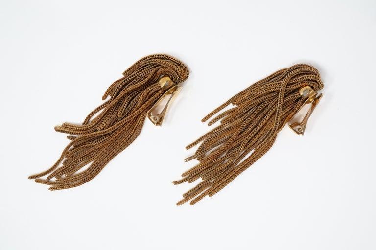Vintage Napier Gold Fringe Earrings, Signed, circa 1970s For Sale 4