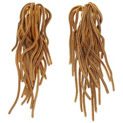 Vintage Napier Gold Fringe Earrings, Signed, circa 1970s