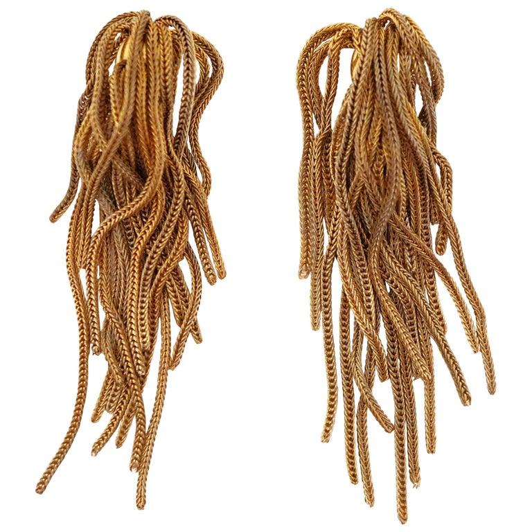 Vintage Napier Gold Fringe Earrings, Signed, circa 1970s For Sale