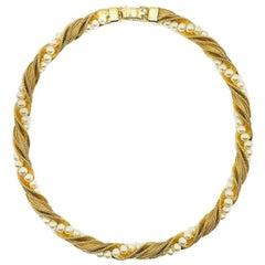 Vintage Napier Gold & Pearl Rope Twist Necklace 1980S