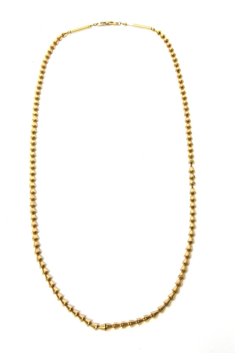 Modern Vintage Napier Gold Plated Reticulated Geometric Necklace For Sale