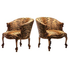 Vintage Napoleon III Style Gilt Twisted Rope and Tassel Carved Armchairs