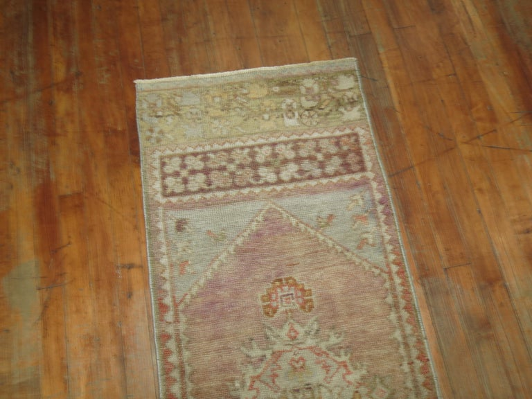 Hand-Knotted Vintage Narrow Oushak Runner For Sale
