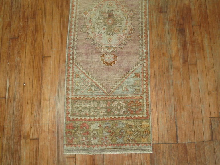 Vintage Narrow Oushak Runner In Excellent Condition For Sale In New York, NY