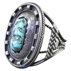 Vintage Native American 925 Sterling Silver and Turquoise Signed Cuff Bracelet