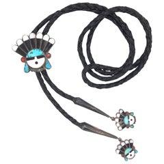 Vintage Native American HOPI Headdress 925 Silver Bolo Tie Estate Fine Jewelry