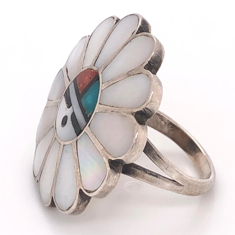 Women's or Men's Vintage Native American HOPI Inlay Headdress 925 Silver Ring Estate Fine Jewelry For Sale