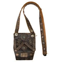 Vintage Native American Leather Bandolier Bag, Navajo, circa 1925-1950, Silver