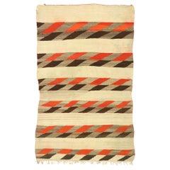 Vintage Native American Navajo Kilim Rug with Two Grey Hills Style