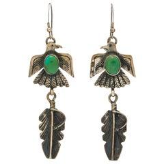 Vintage Native American Navajo Silver and Adventurine Thunderbird Earrings