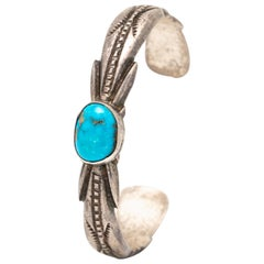 Vintage Native American Navajo Sterling and Turquoise Bracelet Cuff
