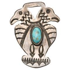 Vintage Native American Navajo Sterling Silver Double Thunderbird Charm Pendant
